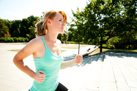 wet t shirt: Young lady running Stock Photo