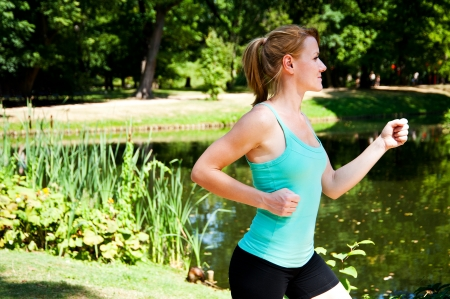 t off: fitness girl outdoor Stock Photo