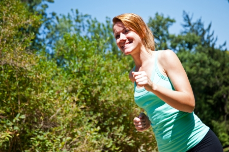 wet t shirt: fitness girl outdoor Stock Photo