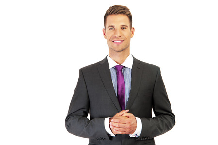 Bussines man over white background photo