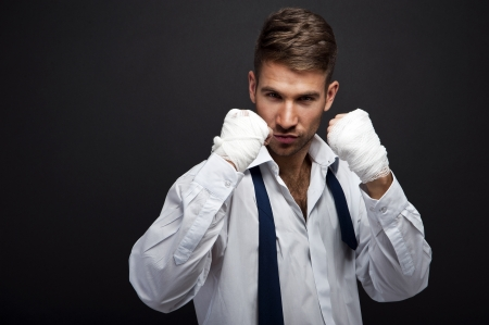 pugilist: Handsome businessman boxer Stock Photo