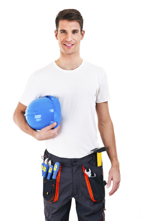 builder in a helmet over white background