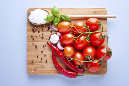 vegetables fresh tomato with onion, garlic and spices on cutting board photo