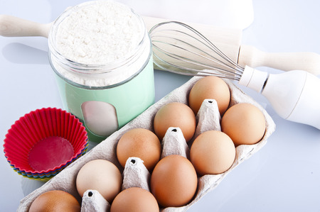 flour and roller, eggs photo