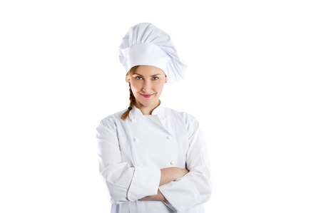 woman chef Isolated over white background   photo
