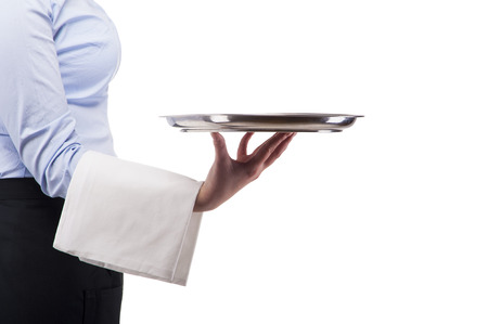 isoleted: Woman in waiter uniform. Clouse up in tray. Isoleted on white background.