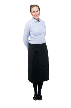 hotel staff: Waitress isolated over white background. Smiling blond woman in uniform. Stock Photo
