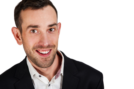 isoleted: Smiling man in suit isoleted over white background. Black jacket and white shirt.