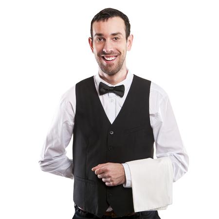 hotel staff: Waiter isolated over white background smiling, full body apron.