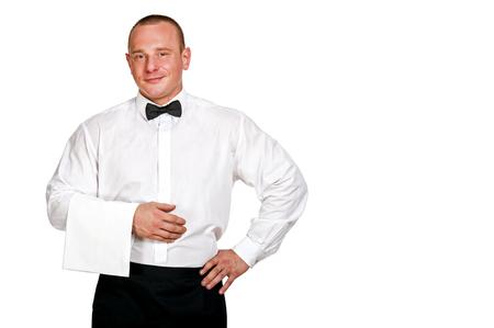 isoleted: Waiter man isoleted over white background, smiling.