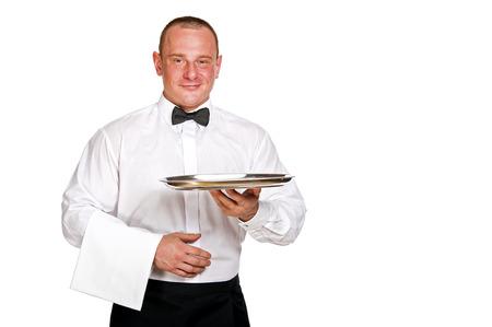 Waiter holding tray. isolated over white background. Stock Photo
