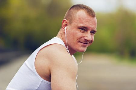 resting: Man resting after jogging.