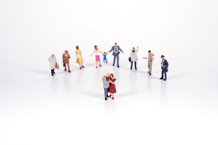 localization: Crowd of people in miniature people