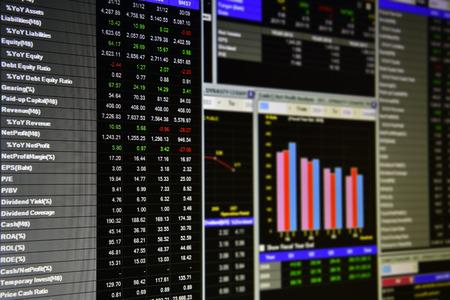 Scherm van financiële activiteiten op de monitor van een computer
