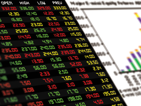 sell shares: A display of daily stock market price and quotation with a bar chart of financial instrument Stock Photo