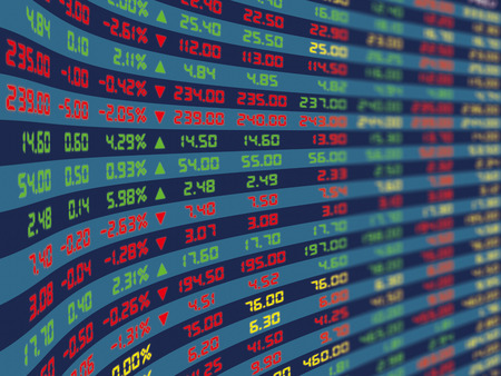A large display panel of daily stock market price and quotation during normal economic period.