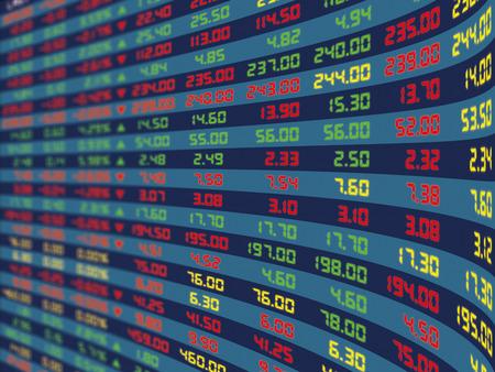 毎日の株式市場価格と通常経済期間見積の大型ディスプレイ パネル。
