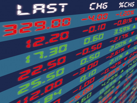 Bid: A large display panel of daily stock market price and quotation during normal economic period.