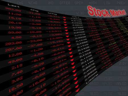 downturn: A large display panel of daily stock market price and quotation during economic downturn, in bear and bad market period. Stock Photo