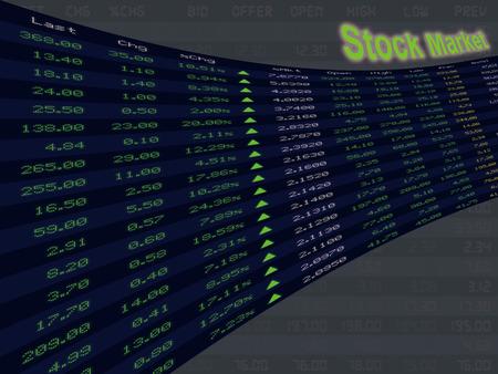 Een weergave van de dagelijkse beurskoers en offerte tijdens economische opleving ped, bull markt en de aandelen omhoog.
