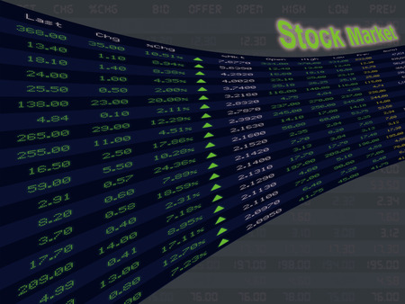 A display of daily stock market price and quotation during economic upturn period, bull market and shares up. Standard-Bild
