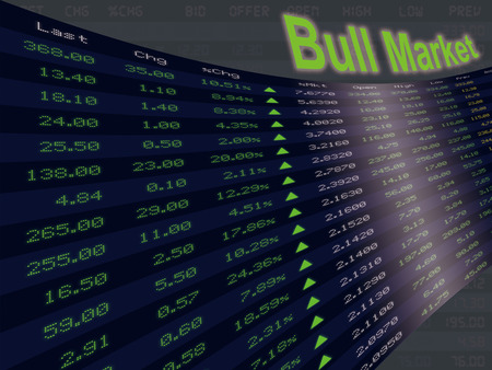 upturn: A display of daily stock market price and quotation during economic upturn period, bull market and shares up. Stock Photo