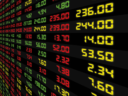 A display of daily stock market price and quotation