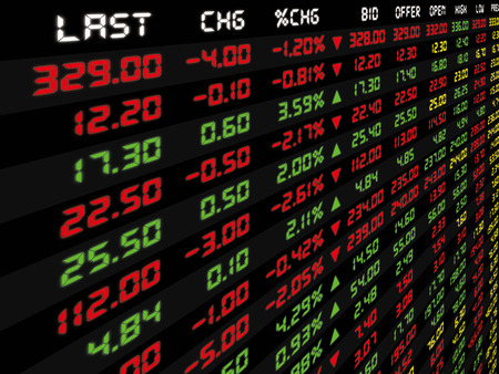 market trends: A display of daily stock market price and quotation