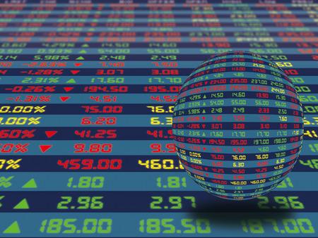 정상적인 경제 기간 동안 매일 주식 시장 가격과 견적의 대형 디스플레이 패널. 크리스탈 공 개념을 장식.