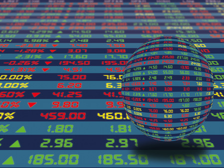 A large display panel of daily stock market price and quotation during normal economic period. Crystal ball decorated concept.