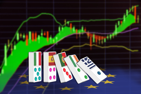 economic theory: Five dominoes of EU countries that seem to have financial problem, stand upright in front of the display of financial instruments for stock market technical analysis. Stock Photo