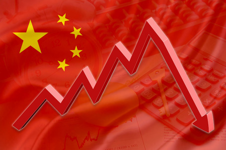 market bottom: Flag of China with a background of an abacus, a calculator, a clock, a golden key, a golden egg and a red downtrend arrow indicates the stock market enter recession period.