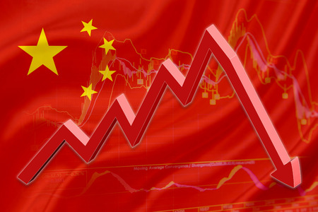stock market crash: Flag of China with a chart of financial instruments for stock market analysis and a red downtrend arrow indicates the stock market enter recession period.