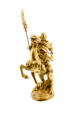 dignified: Statuette of the legendary Chinese general Guan Yu riding on a horseback named Red Hare with his Green Dragon Crescent Blade : Chinese famous warrior from Romance of the Three Kingdoms novel