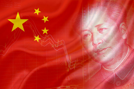 indices: Flag of China with a chart of financial instruments and the face of Mao Zedong on RMB Yuan 100 bill.