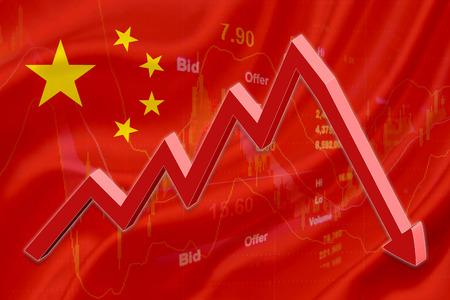 derrumbe: Bandera de China con un gráfico de los instrumentos financieros para el análisis de mercado de valores y una tendencia bajista flecha roja indica el mercado de valores Introduce período de recesión.