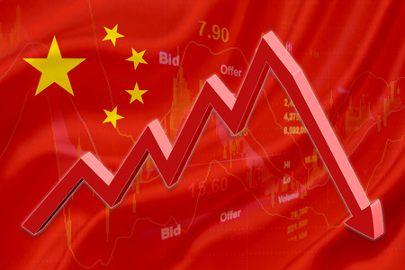stock price: Flag of China with a chart of financial instruments for stock market analysis and a red downtrend arrow indicates the stock market enter recession period.