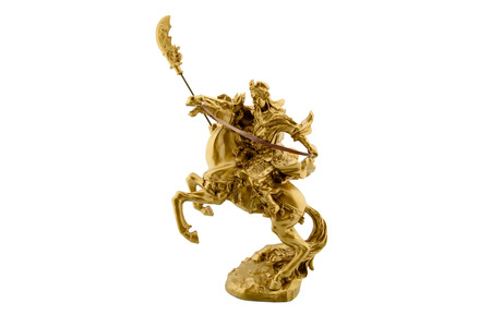 kingdoms: Statuette of the legendary Chinese general Guan Yu riding on a horseback named Red Hare with his Green Dragon Crescent Blade : Chinese famous warrior from Romance of the Three Kingdoms novel