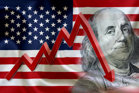 stock: Flag of the United States of America with the face of Benjamin Franklin on US dollar 100 bill and a red arrow indicates the stock market enter recession period.