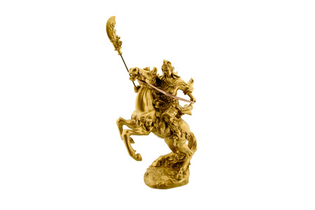 chinese symbol: Statuette of the legendary Chinese general Guan Yu riding on a horseback named Red Hare with his Green Dragon Crescent Blade : Chinese famous warrior from Romance of the Three Kingdoms novel