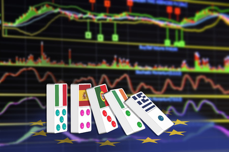 technical analysis: Five dominoes of EU countries that seem to have financial problem, stand upright in front of the display of financial instruments with various type of indicators for stock market technical analysis. Stock Photo