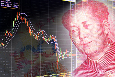 bursatil: Gráficas de instrumentos financieros, incluyendo varios tipos de indicador para el análisis técnico en el monitor de un ordenador, junto con la cara de Mao Zedong en RMB Yuan billete de 100