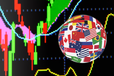 quantitative: Flags globe over the display of daily stock market charts of financial instruments for technical analysis including price and bollinger band analysis. Global stock market investment concept.