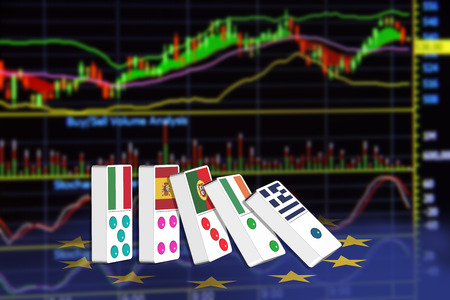 technical analysis: Five dominoes of EU countries that seem to have financial problem, stand upright in front of the display of financial instruments for stock market technical analysis. Stock Photo