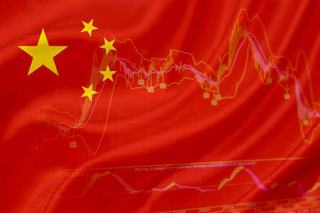 market crash: Flag of China with a chart of financial instruments for stock market analysis. Stock Photo
