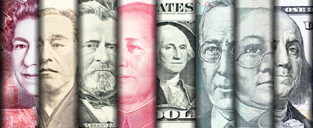 Faces of famous leader on banknotes of the main country in the world. Standard-Bild