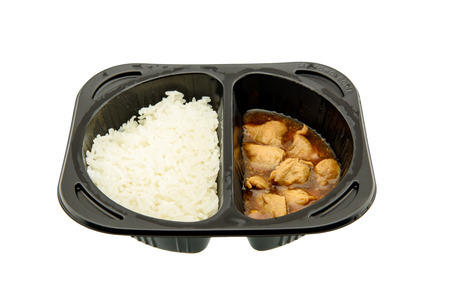 hectic life: Teriyaki chicken with Jasmine rice, an innovative instant meal for a hectic life preparing by putting in a microwave just for a few minutes. Found in most famous convenience stores in Thailand.