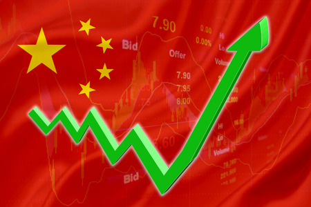 Flag of China with a chart of financial instruments for stock market analysis and a green uptrend arrow indicates the stock market enter booming period. Imagens