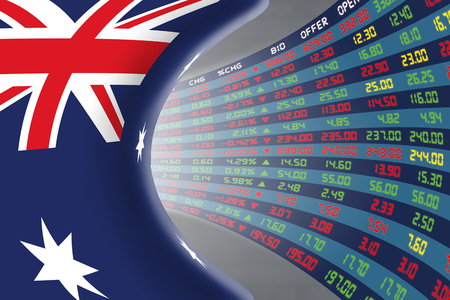 stock quotations: National flag of Australia with a large display of daily stock market price and quotations during normal economic period. The fate and mystery of Australian stock market, tunnelcorridor concept.