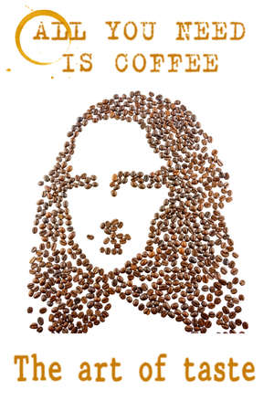 leonardo davinci: A face of a young woman arranged from coffee beans with quotes and coffee stains, isolated on white background. Stock Photo